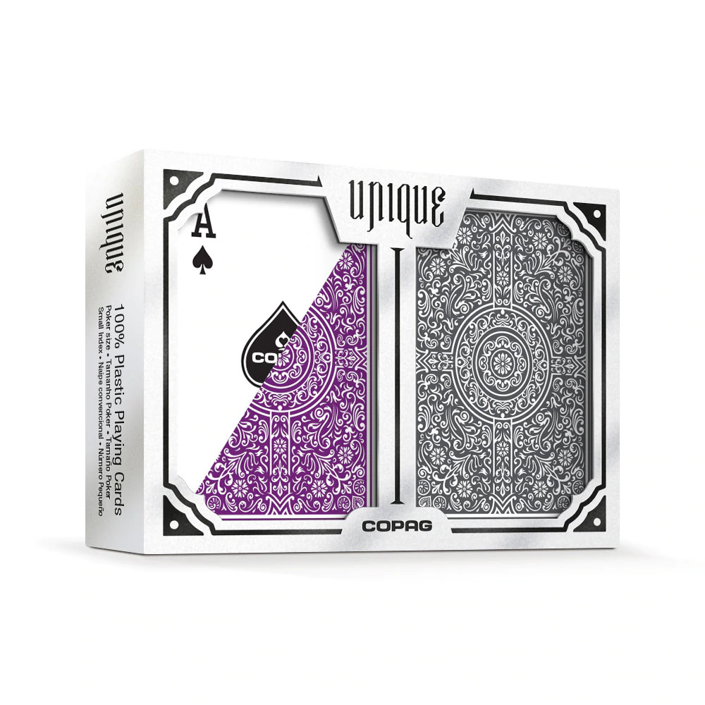 "Copag ""Unique"" Plastic Playing Cards Poker Size Jumbo Index Purple/Grey Double-Deck Set"
