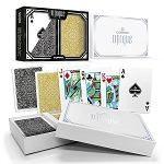 "Copag ""Unique"" Plastic Playing Cards Poker Size Jumbo Index Gold/Grey Double-Deck Set"