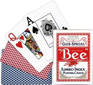 Bee Poker Jumbo Red Playing Cards
