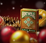 Bicycle Leaf Back Green Playing Cards Gold Edition New