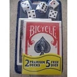 5 Regular Dice Die + 2 Decks Bicycle Playing Cards Red & Blue 808 Rider Back