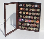 56 Coin Mahogany Finish Display Case Cabinet Holder Shadow Box with Glass Door