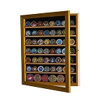 56 Coin Natural Finish Display Case Cabinet Holder Shadow Box with Glass Door