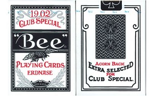 Bee Erdnase Black & Silver Acorn Back Playing Cards in Cambric