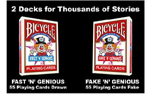 Bicycle Fast 'N' Genious/Fake 'N' Genious Playing Cards 2 Deck Set