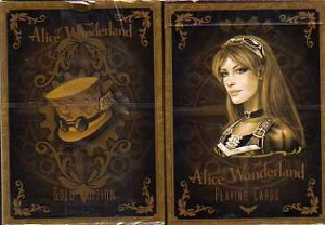 Alice Wonderland Gold Playing Cards.